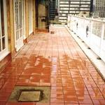 "The Yale Club   New 6"" X 9"" quarry tile deck set on cement setting bed."